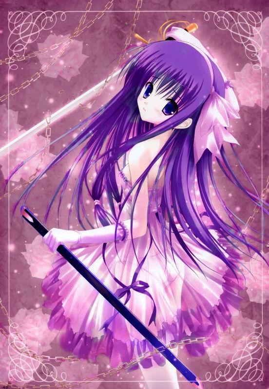 有什么好看的动漫女孩图要紫色的!