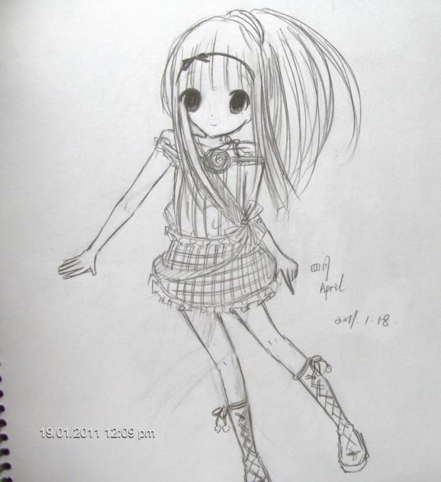 铅笔手绘图女生
