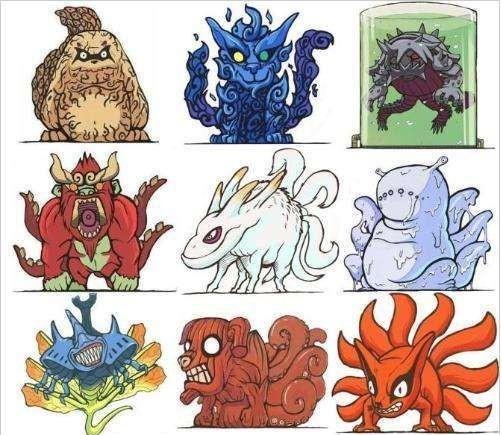 火影忍者中1至9尾图