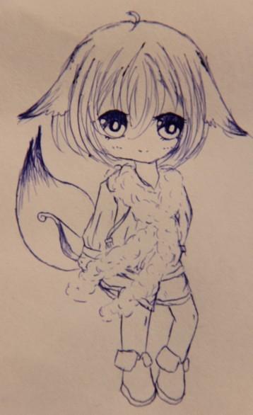 q版狐狸萌图手绘素描