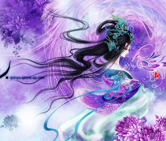 淡紫色古装女子手绘