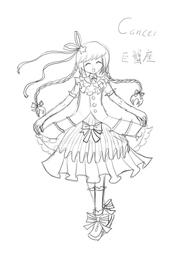 【抹茶】(板绘)十二星座女生形象_百田画咖圈
