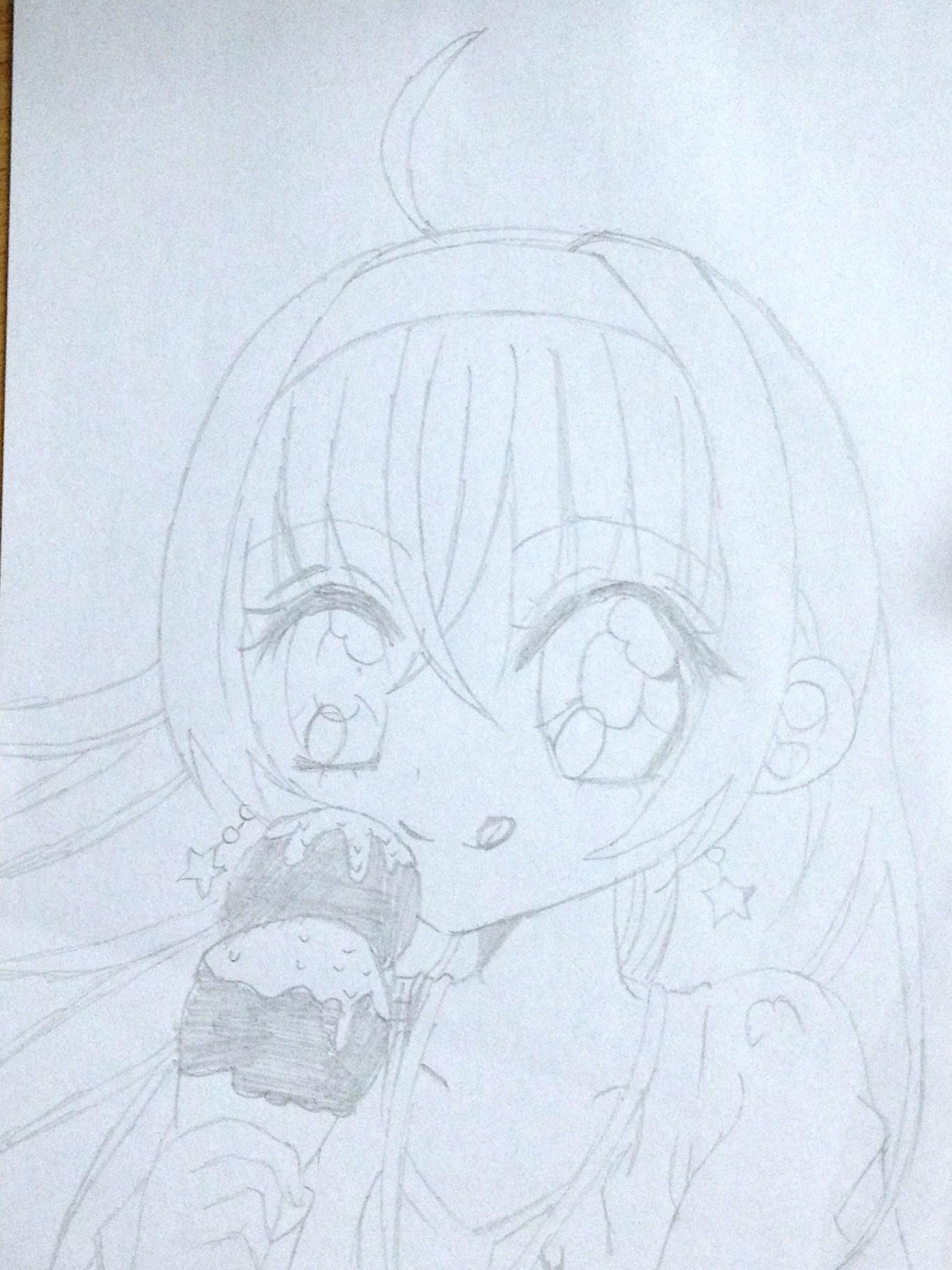 可爱少女简单素描