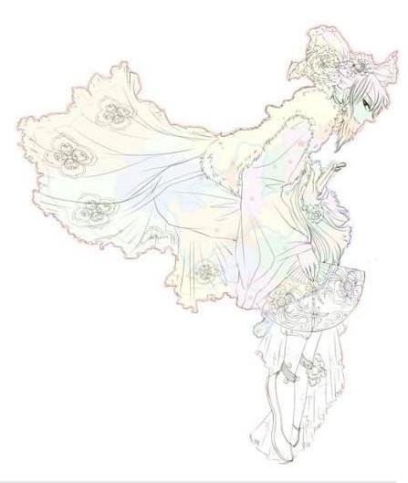 中国地图拟人_画咖圈_百田网