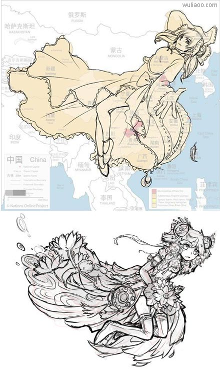 中国地图拟人