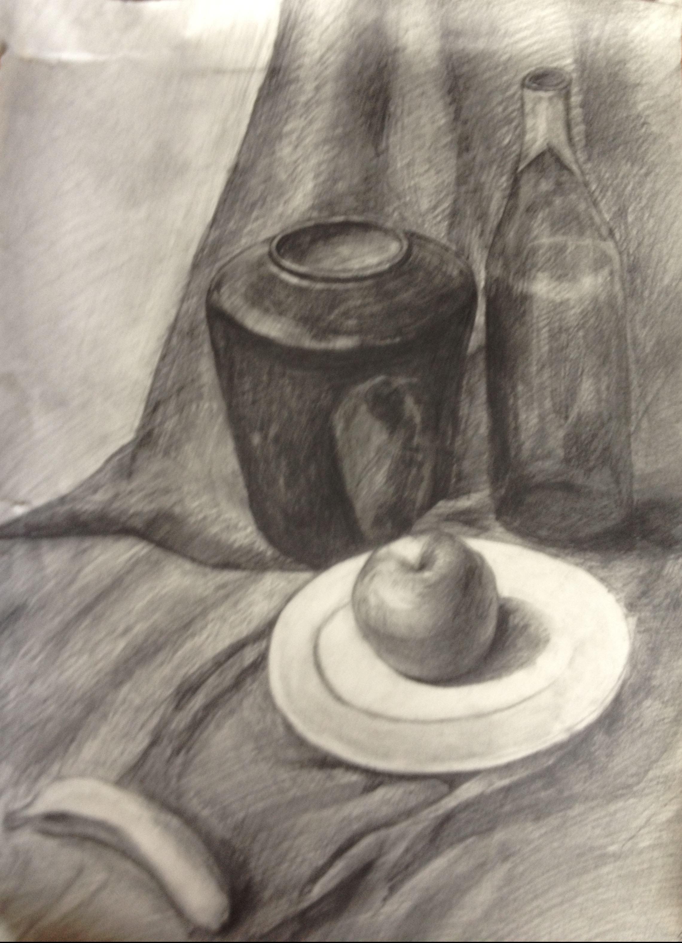 罐子结构素描画