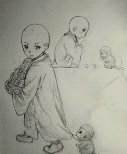 手绘萌版exo铅笔画