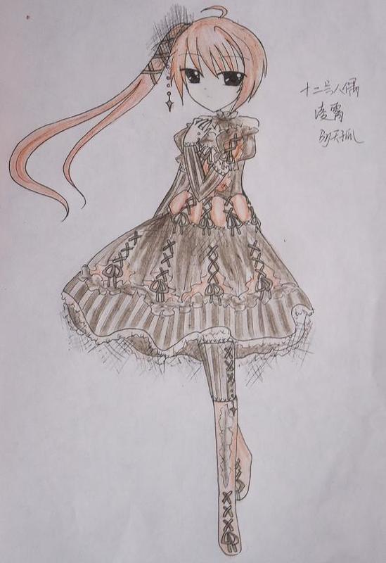 裙子少女手绘彩铅画