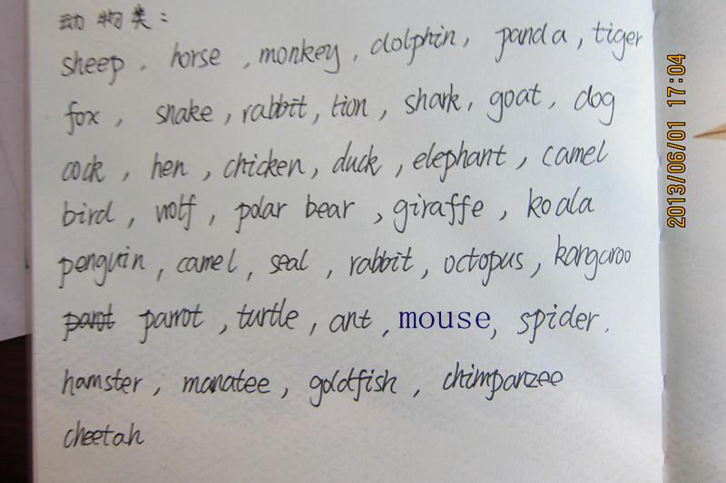 写的英语单词分类