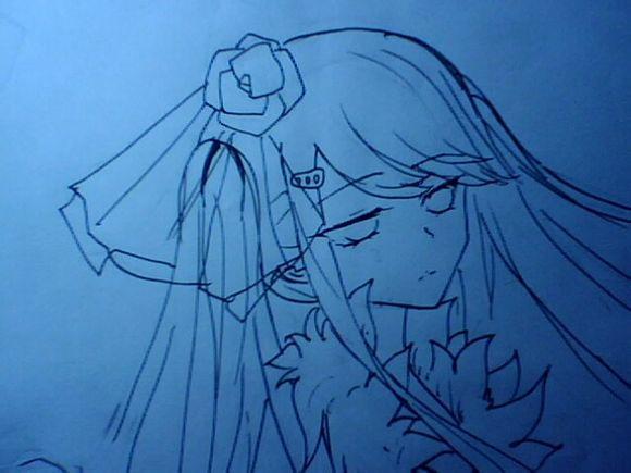 手绘水蓝色头发美女