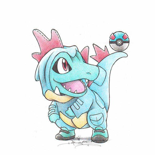 口袋妖怪超可爱同人图!; 小鳄鱼!~~进化成了大鳄鱼!
