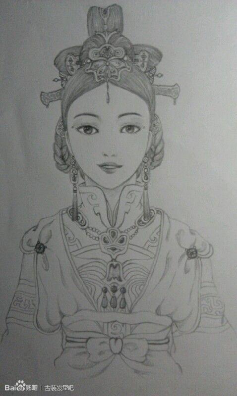 读书少女侧面手绘