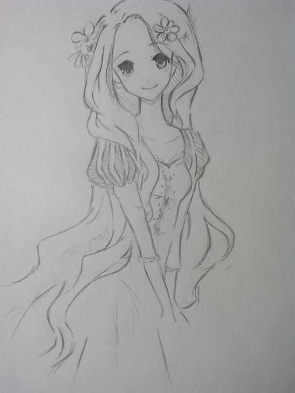 手绘头像 女生阳光
