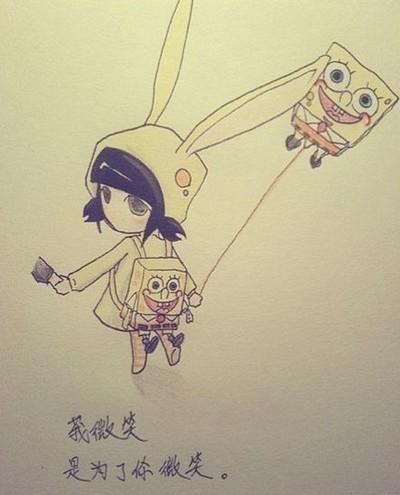【转】手绘插画伤感小兔女