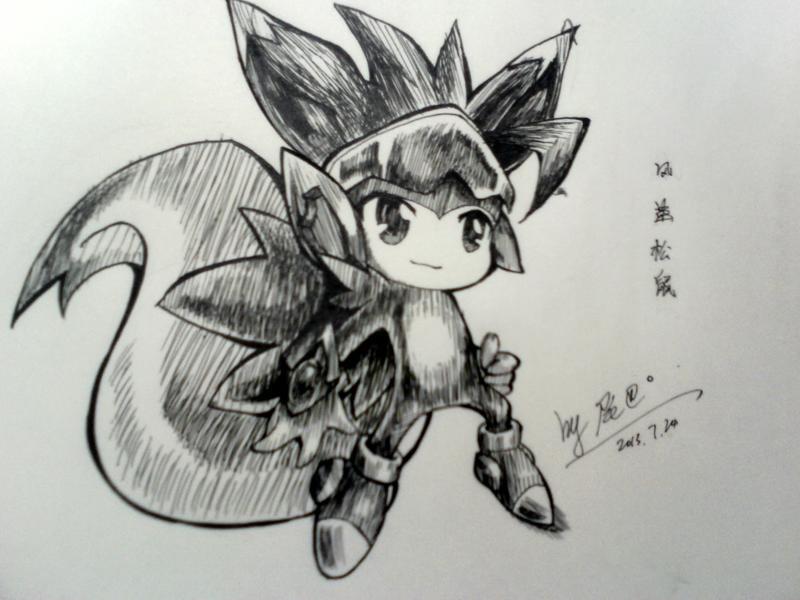 【尾巴】手绘黑白版风速松鼠镇楼|手绘图楼