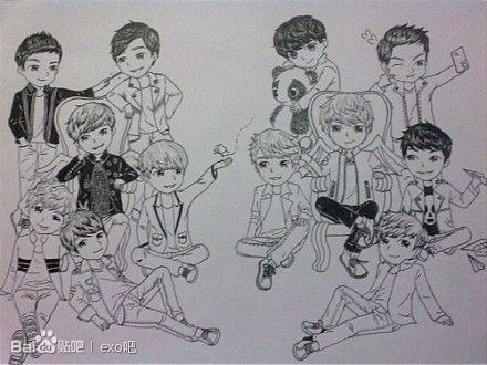 【晓梓】exo|手绘十二只漫画版.萌屎了!