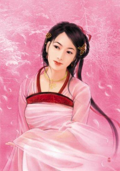 手绘清朝版妃子图