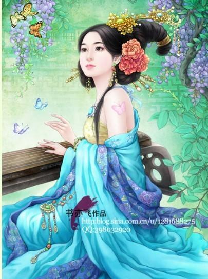 古代人物唐朝古筝美女25;