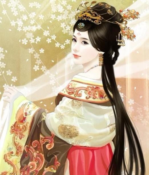 手绘古代皇后贵妃图片