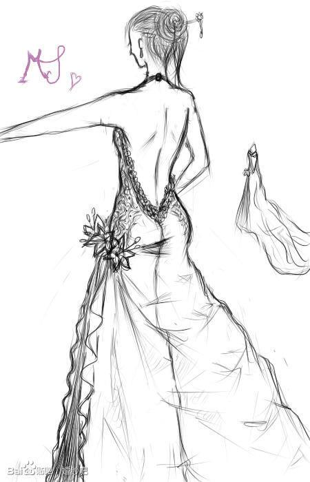 手绘漫画新娘铅笔画