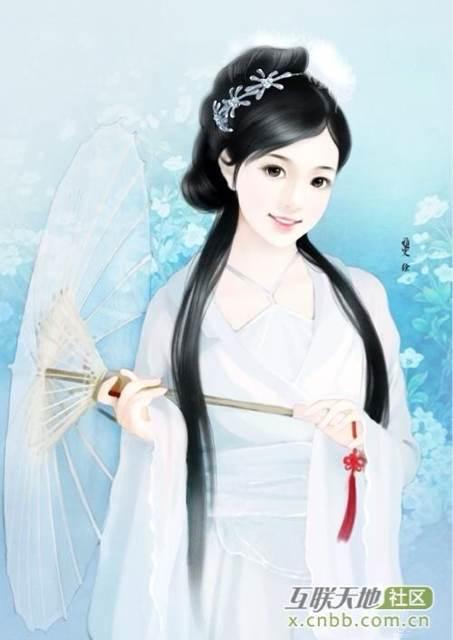 古代清朝女子丹青手绘