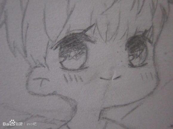 q版exo铅笔手绘图片