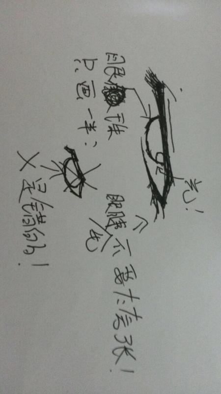 【米子】黑红绿蓝水笔手绘眼睛教程