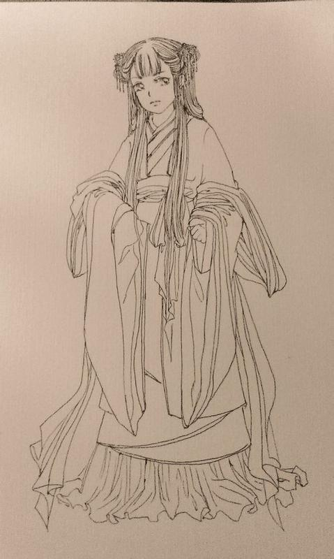 古风素描手绘图片女
