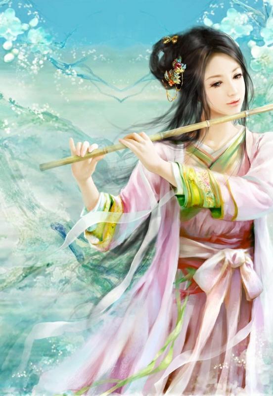 古典吹笛美女手绘