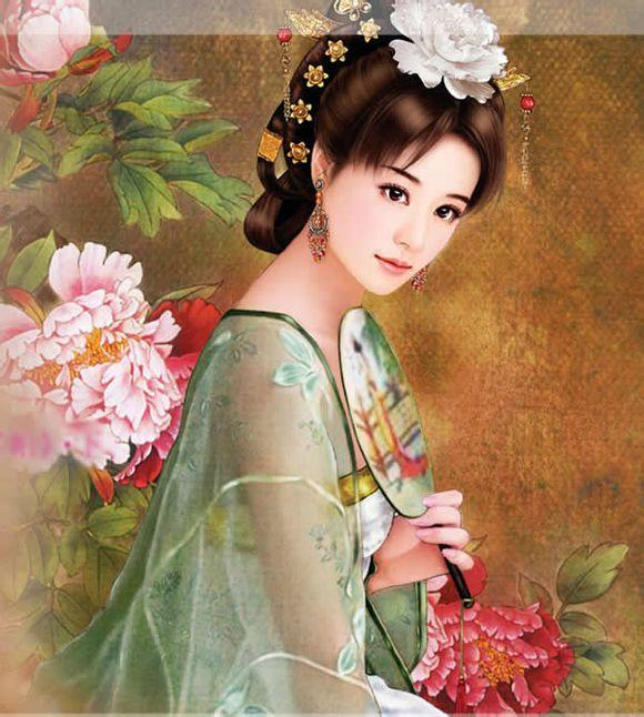 古装美女丹青_古代白衣女子丹青图_古代白衣女子丹青图设计