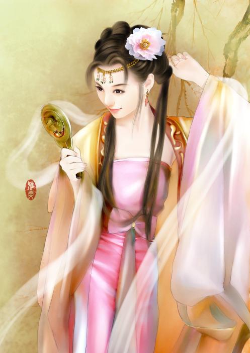 【冷月】古代女子丹青图图片