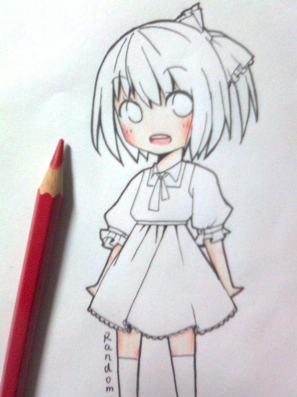 儿童女生彩铅漫画图片