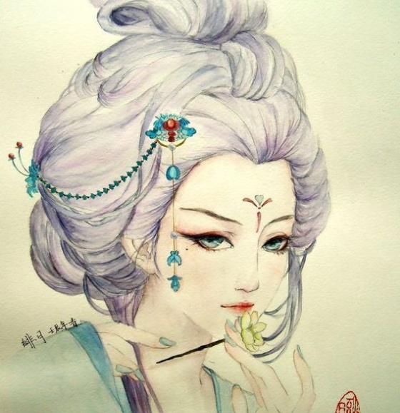 彩铅手绘古代娘娘