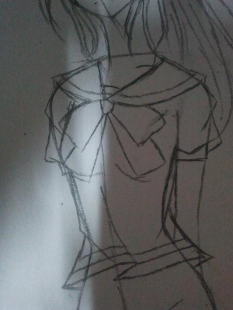 流泪少女手绘图