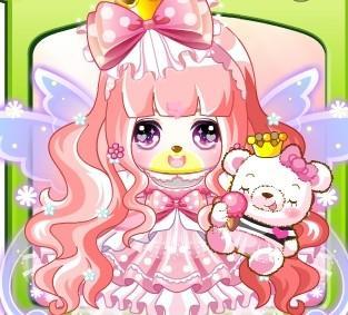 公主套装,伊莎美甜美耳环,甜筒小粉熊[新手赠送] 可添加:花仙子荧光