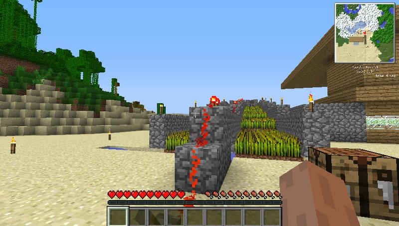 minecraft(我的世界)红石水流小麦收割机
