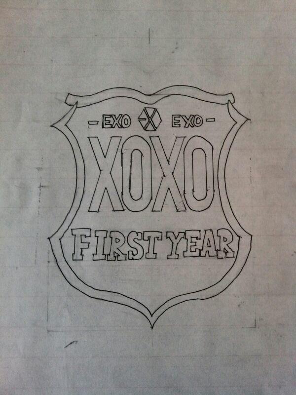简单exo标志手绘
