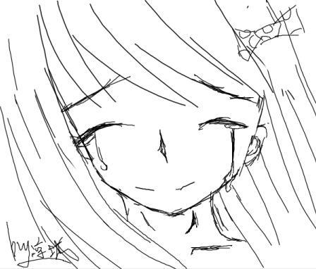 流泪女孩黑白手绘