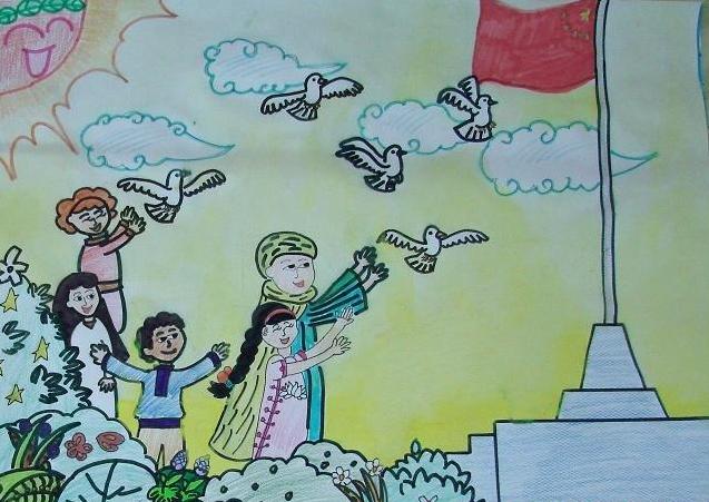我爱祖国线描画-我爱祖国绘画作品怎么画